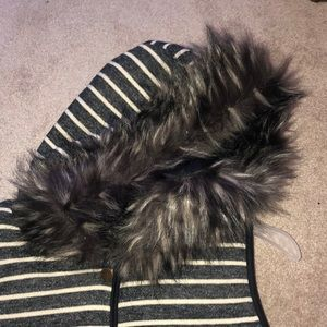 Copper Key Jackets & Coats - NWT Striped faux fur hooded vest - small